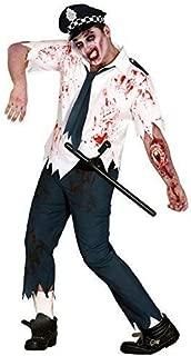 Mens Dead Bloody Zombie Policeman Officer Cop Uniform Scary Halloween Fancy Dress Costume