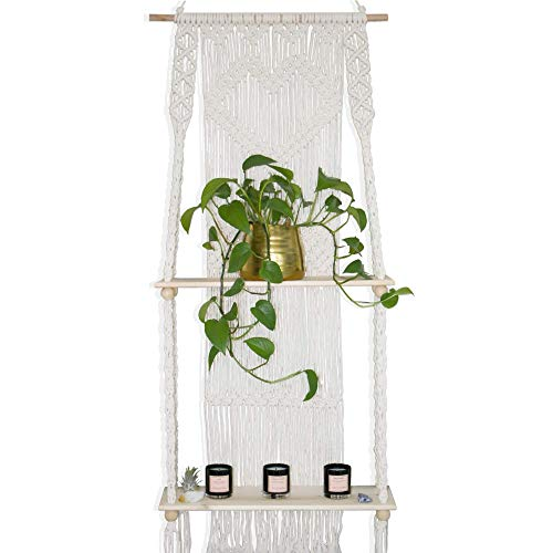 Macrame Wall Hanging Shelf - Boho Indoor Hanging Shelves for Wall - Decorative Bohemian Floating Plants Room Storage Shelving Macrame Rope Decor Organizer Rack, 2 Tier Handmade Plant Shelves