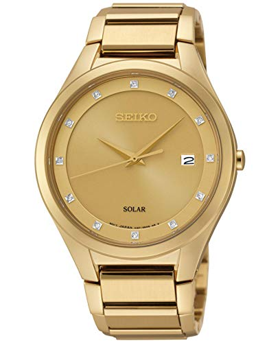 Seiko Herren Analog Solar Uhr mit Edelstahl Armband SNE384P9
