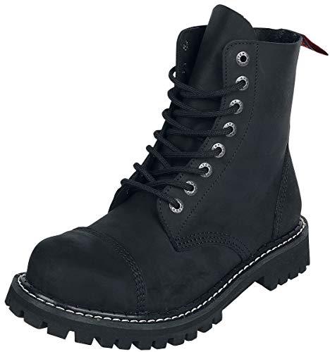 ANGRY ITCH - 8-Loch Gothic Punk Army Ranger Armee Vintage Leder Schwarz Stiefel mit Stahlkappe 36-48 - Made in EU!, EU-Größe:EU-47