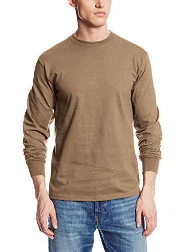 Soffe Men's Long-Sleeve Cotton T-Shirt, Army Brown, X-large