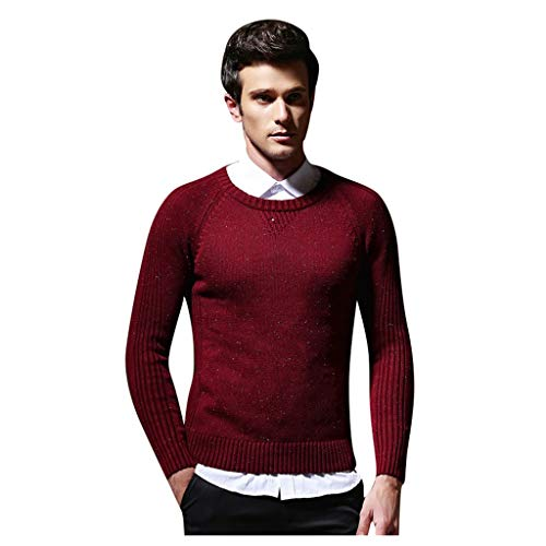 Buy Men Winter Knitted Long Sleeve Crewneck Warm Slim Fit Soft Cotton Cable Stitch Sweater Sweaters ...