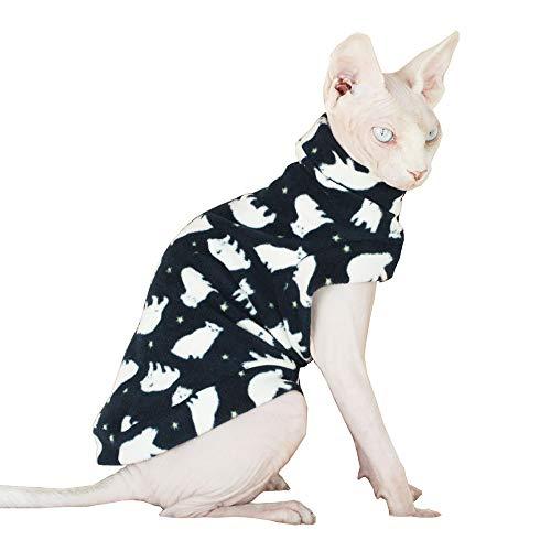 Khemn Designer Katzen-Muster Warmer Katze Pullover mit Dicke Baumwolle Haarlose Katze (M)