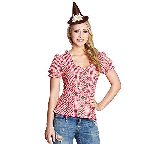 13702 Rubie`s Damen Trachtenbluse rot-weiß kariert Dirndl Bluse (42)