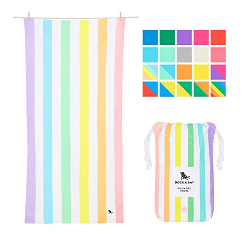 Dock & Bay Rainbow Beach Towels for Travel - Unicorn Waves, Extra Large (200x90cm, 78x35)- Cabana Towel with Stripes, Quick Dry Towel Sand Proof