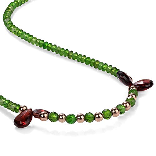 Halskette mit violetten Granatperlen, Chrom-Diopsid, Granatstein-Halskette, 925er Sterlingsilber, russische grüne Chromdiopside