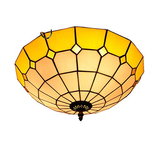 Mediterrane Deckenleuchte, Retro-Deckenleuchte Im Tiffany-Stil, 16-Zoll-Lampenschirm Aus Buntglas, Balcony Hotel Cafe Light Decor, 40 W, E27,110 V-240 V (Keine GLÜHBIRNE)