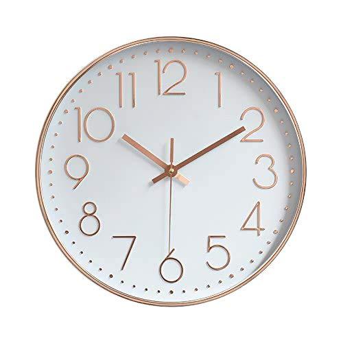 Reloj de Pared Moderno,Grandes Decorativos Silencioso Interior Reloj de Cuarzo de Cuarzo Redondo No-Ticking para Sala de Estar,Panel Blanco Marco Dorado, Funciona con Pilas,25 cm diámetro
