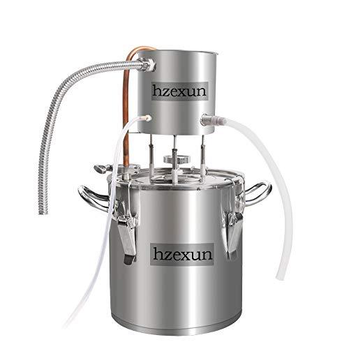 hzexun CASA Alambicco Distillatore Caldaia per Vinificazione con Pompa Termometro Incorporato per Acqua Vino Oil Whisky Brandy Vodka in Acciaio Inossidabile (3Gal/12L)