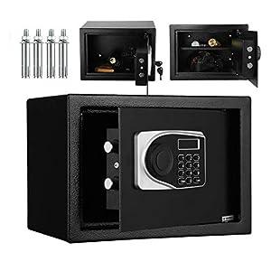 16L Caja Fuerte con Cerradura Electrónica, 35 x 25 x 25 cm caja Fuerte Negra, Caja de Almacenamiento Segura con Teclado y Llave