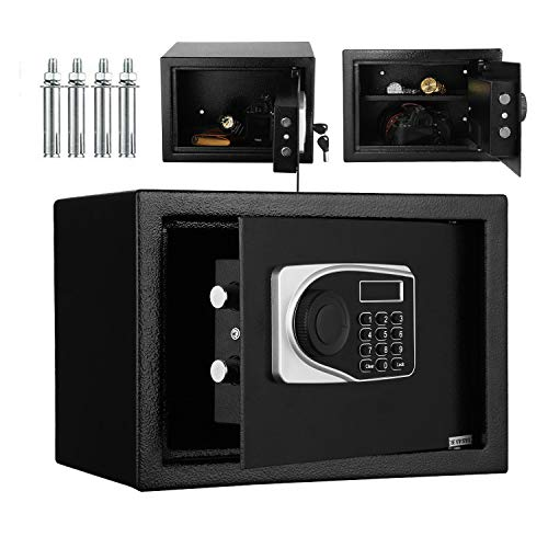 Caja fuerte de Seguridad Electrónica para Oficina en casa, 16L Caja Fuerte cerradura electrónica con Teclado y Llave, 35x25x25 cm Caja Fuerte Grande Negra