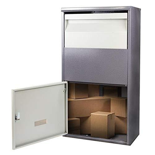 Briefkasten Groß Paket-Dropbox für Outside Home Porch Curbside, Abschließbar Diebstahlsicherung Stehend/Wand Post Brief Briefkasten, Paket Aufbewahrungsbox, Grau