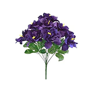 Violet Hibiscus Bush 12 Artificial Flowers 20″ Bouquet -Artificial Plants & Flowers-Artificial Flowers–Wedding Decorations-Flowers-Poinsettia Flowers Artificial-Flower Wall