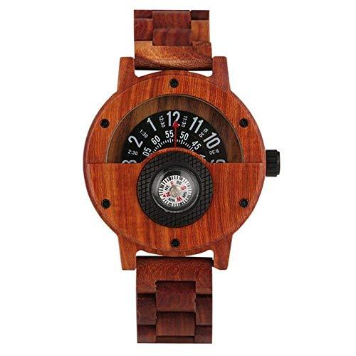 Reloj de madera con diseño de números de brújula, reloj de madera para hombre, brazalete de madera, reloj de pulsera de madera natural, reloj de bolsillo (color de madera roja)