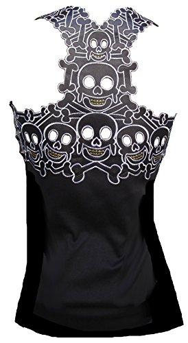 d'Rockabilly Punk Rock Baby - Camiseta de tirantes para mujer, diseño de calavera caníbal Tiki Negro Negro ( S