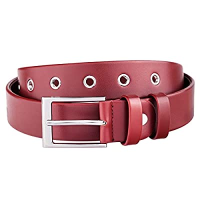 Samtree Solid PU Leather Belt for Unisex, Adjustable Square Buckle Casual Gromment Women Waist Belt for Jeans Dresses, Deep Red