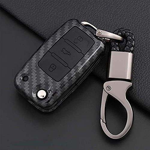 BENBENHU Funda para Llave de Coche Protector Keybag Porta Llaves, para Volkwagen Polo Bora Tiguan Passat Golf 6 Negro