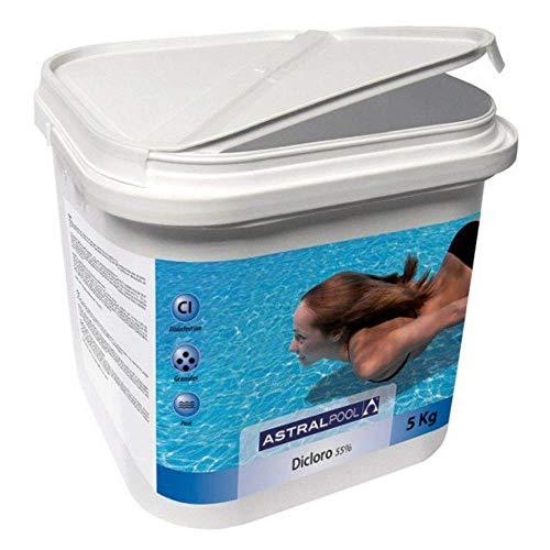 Astralpool Cloro Dicloro Shock granulado con 55% de cloro útil para piscinas de 5 kg – Productos químicos en gránulos para mantenimiento de piscinas