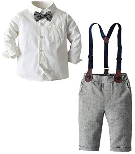 Baby Boys Clothes, Long Sleeve Button Down Dress Shirt with Bowtie + Suspender Pants for Boy 7# White, Tag 110 = 2-3T