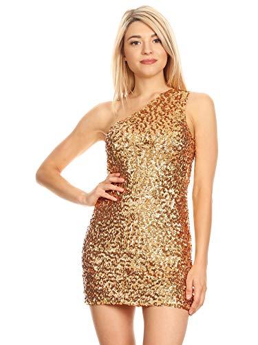 """ANNA-KACI Damen Einfarbig EIN Schulter à""""rmellos Paillette Cocktail Mini Kleid, Gelb Gold, M"""