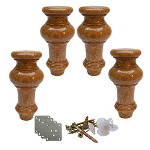 AQWESD Tischbein Massivholzmöbel Füße, Kürbisförmige Küchenmöbel Füße, Ersatz Couchtisch Füße, Holz Sofa Füße, für Sofa Ottoman, Sofa Cab