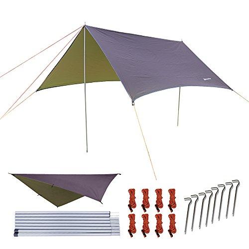NATUREFUN Multifuncional 3x3m Impermeable Ante Lluvia para Hamaca Tienda de Camping Lona para Acampar al Aire Libre Refugio para la Playa toldo de Sol Mat Picnic Equipos de Supervivencia