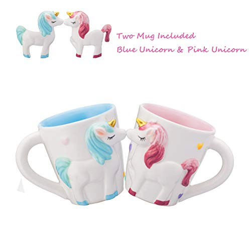 2 Sets of Magical Unicorn cup - Cartoon Unicorn Ceramic Cup for Milk Coffee Tea, Best Birthday Gift for Kids