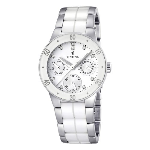 Festina Ladies Quartz Watch with White Dial Analogue Display and Multicolour Stainless Steel Bracelet F16530/3