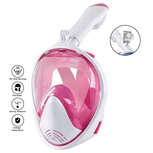 Máscara De Esnórquel De Cara Completa, 180 ° Seaview Máscara De Buceo De Respiración Fácil para Adultos O Niños, Antivaho Antifugas con Cámara de Acción Desmontable (Color : Pink, Size : L/XL)