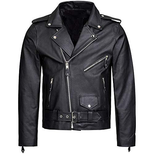 Mufimex Herren Lederjacke Motorradjacke Brando Jacke Chopper Rockabilly Rindsleder S