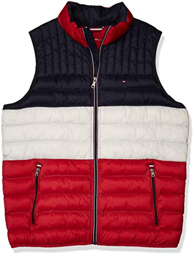 Tommy Hilfiger Herren 159AN478-MUF-04-XL Daunenweste, Midnight/Ice/Red, X-Large