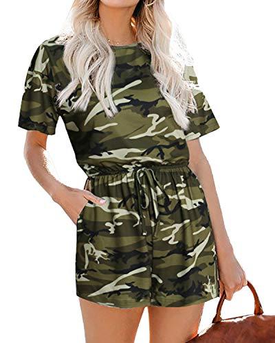 Auxo Damen Camouflage Kurzarm Rundhals Jumpsuits Lose Beiläufig Rompers Overall Kurz Pants Armeegrün XX-Large