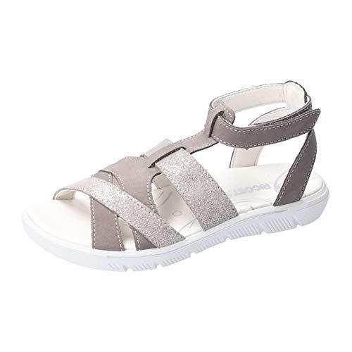 RICOSTA Mädchen Riemchensandalen JARA, Weite: Mittel (WMS), leger römer-Sandale Sandalette Gladiatoren-Sandale sommerschuh,Graphit,31 EU / 12 Child UK