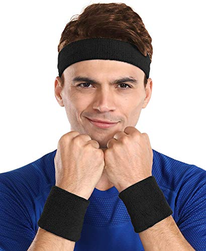 Sweatbands - Head & Wrist Sweat Bands Set - Athletic Headband & Sports Wristbands for Men & Women - Cotton Terry Cloth Bands for Working Out, Tennis, Basketball, Baseball, Football & Gym Exercise