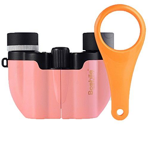 PIGE Télescope pour Enfants débutants Poche Jumelles Enfants-Mignon Couleur Pure-pour Regarder Observer la Nature Activités en Plein air Étude (Couleur : Pink, Taille : Telescope+Mini Magnifier)