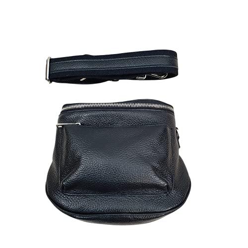 Italy Bolso bandolera de piel auténtica para mujer de Borse in pelle, bolso pequeño con correa desmontable., Negro , 18x18x9 cm