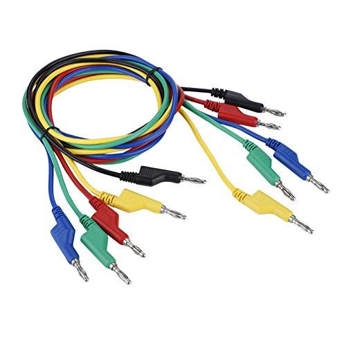 Cable Banana,5 Unids P1036 Alta TensióN De Doble Cabezal 1M 4Mm Cable Banana Macho De Prueba Para MultíMetro Laboratorio De Pruebas EléCtricas De Trabajo