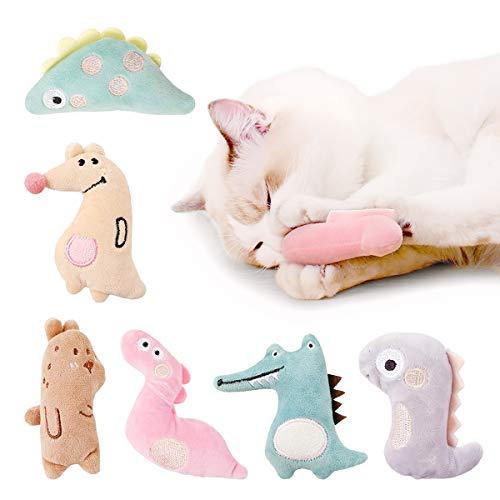 AnCoSoo 6 Stück Katzenminze Plüsch Spielzeug, Interaktive Katze Spielzeug, Süßes Kitten Spielzeug, Katzenspielzeug für Katze zu Spielen, Beißen, Kauen