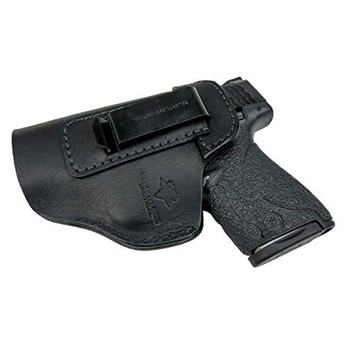 Relentless Tactical The Defender Leather IWB Holster - Made in USA - for S&W M&P Shield - Glock 17 19 22 23 32 33 44 / Springfield XD & XDS/Plus All Similar Sized Handguns – Black – Right Handed