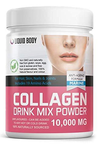 Liquid Body Polvo de colágeno marino premium con Halal, Kosher, Paleo, Keto, 10,000 mg, la mejor proteína hidrolizada para piel, uñas, cabello, articulaciones, intestino, más fuerte 30 porciones 300G