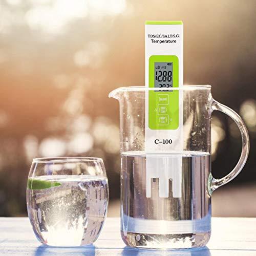 Duokon 5 in 1 Salzgehalt TDS EC Meerwasserteststift, C-100 Multifunktionaler Wasserqualitätstester, für Trinkwasser, Schwimmbad, Aquarium, Umkehrosmoseanlage, Spa oder Hydroponik