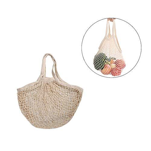 Takefuns Bolsa de Compras de Red de algodón Ecology Market String Bag Organizer-para comestibles, Compras, Playa, Almacenamiento, Fruta, Verduras y Tosys, Algodón Puro, Beige-l-1pack, 35x35x25cm
