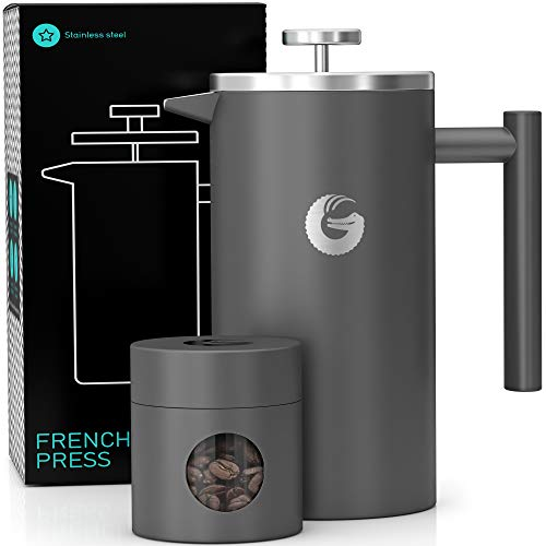 Coffee Gator French Press Coffee Maker - Thermal Insulated Brewer Plus Travel Jar - Large Capacity, Double Wall Stainless Steel - 34oz - Gray
