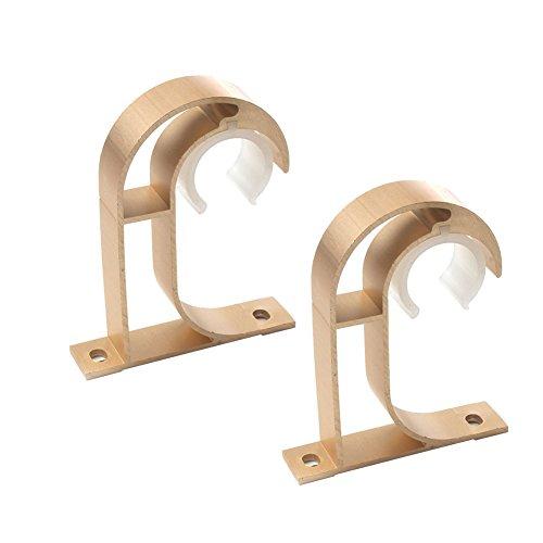 iHomestyle Gardinenstange-Halterung 2er-Set, Haken für Gardinenstange, Aluminiumlegierung, Befestigung an der Decke pale gold