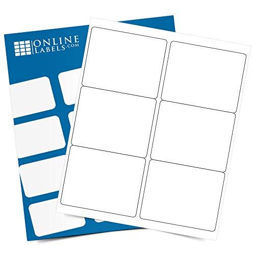 Etiquetas rectangulares de envío de 4 x 3.33, permanentes, color blanco mate, para vino, palés, 6...