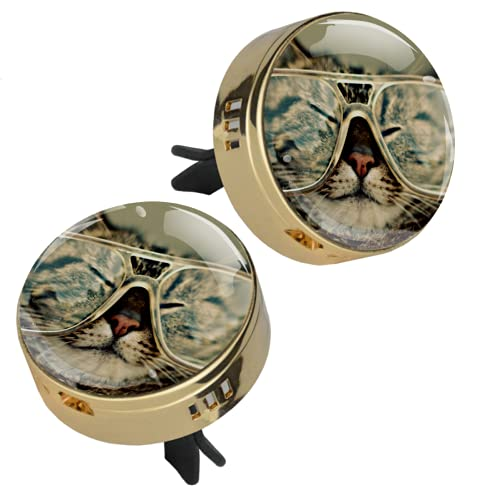 Z&Q 2 Piezas de Medallón con Clip de Ambientador Gafas de Gato Difusor de Aceite Esencial de Aromaterapia de Coche con 4 Piezas Estera de suplemento de PE 33.8mmX46.4mm