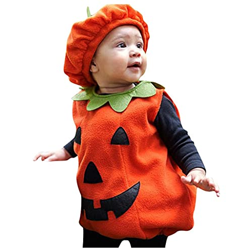 2021 Halloween Pumpkin Costume Romper Bodysuit Outfits Bodysuit +Hat Outfit for Toddler Boy Girl,Fancy Baby Pumpkin Suit