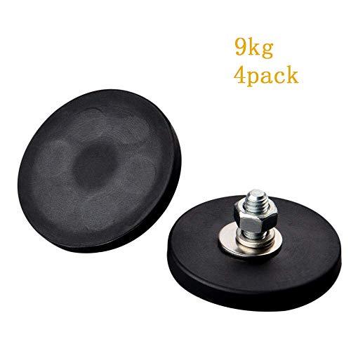 Mutuactor 4 piezas fuerte neodimio de goma de montaje magnético maceta con rosca macho M6, vertical magnético fuerza de tracción 9 kg