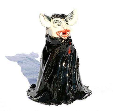 Keramunzel Dracool Leucht - Vampir zum Schmunzeln Halloween Teelicht - Keramik zum Schmunzeln frech und wunderschön Manufaktur bien-Art