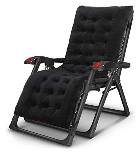 MTCWD Heavy Duty Muebles de jardín Conjuntos de sillas Tumbona jardín Que acampa Plegable de la Gravedad Cero Hamaca reclinable reclinables (Color : Black)